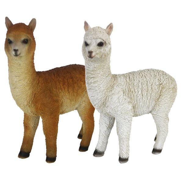 Esschert Design Stehendes Alpaka, Polyresin, 17,5x23,5cm, Alpakafigur, farblich sortiert