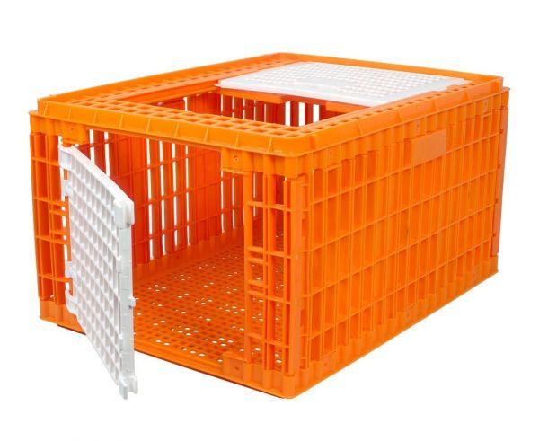 Geflügel-Transportbox HDPE, 77x58x42cm, hohe Transportkiste für Hühner, Truthähne und Gänse