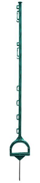 Steigbügelpfahl MUSTANG 115cm, grün, 10 Ösen, glasfaserverstärkter Zaunpfahl mit Steigbügeltritt