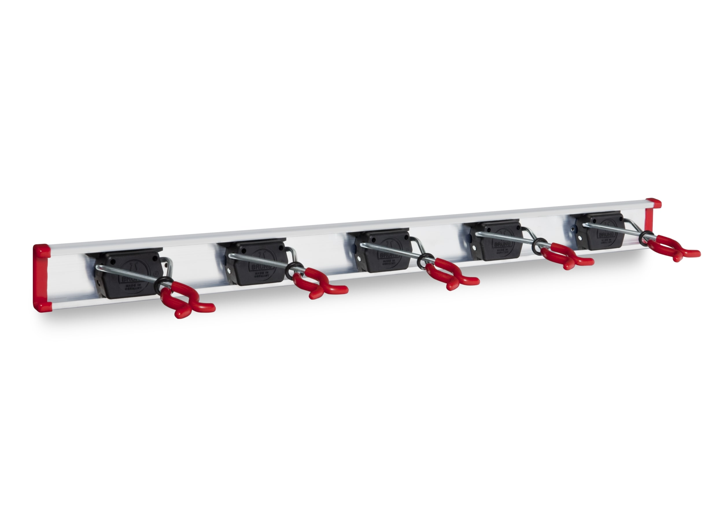 bruns® gerätehalter, aluminium-wandschiene 75cm + 5 halter