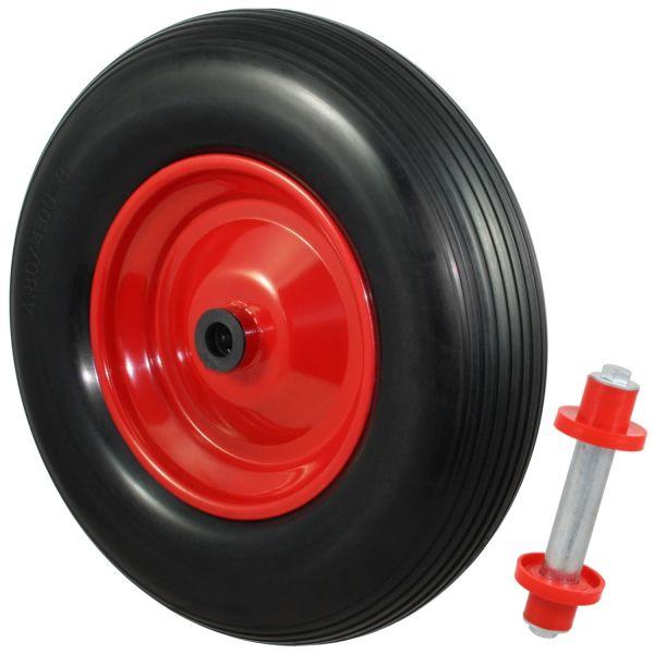 PU Schubkarrenrad Ø390mm (4.80/4.00-8) schwarz, Stahlfelge, Achse Ø20mm, pannensicheres Rad