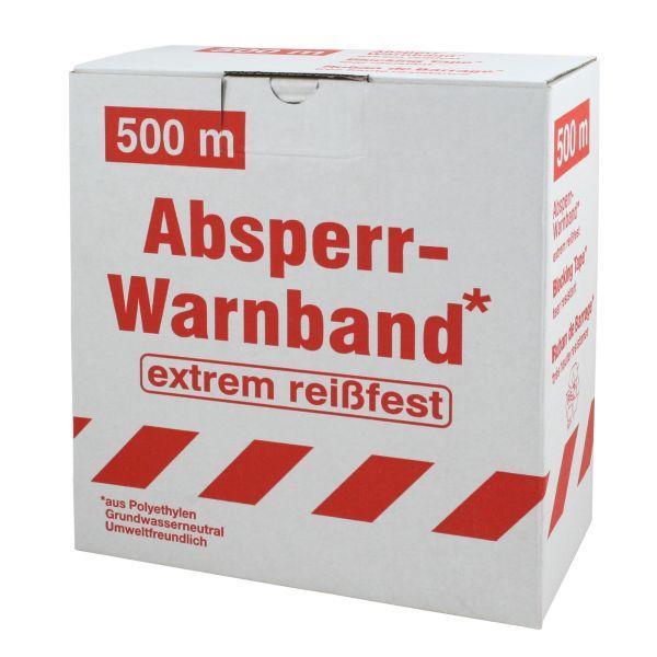 Absperrband 500m, weiß-rot, Warnband, Flatterband in Spenderbox