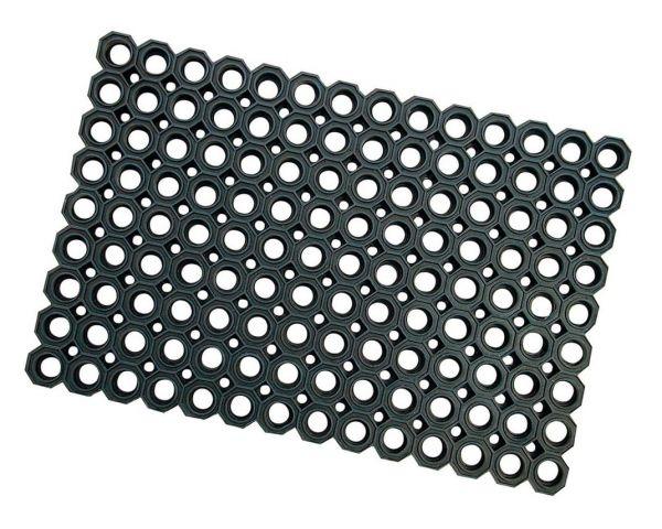 Gummi-Wabenmatte, 60x40cm, schwarz, Gummi-Fußmatte, Allwetter-Fußmatte für den Außenbereich