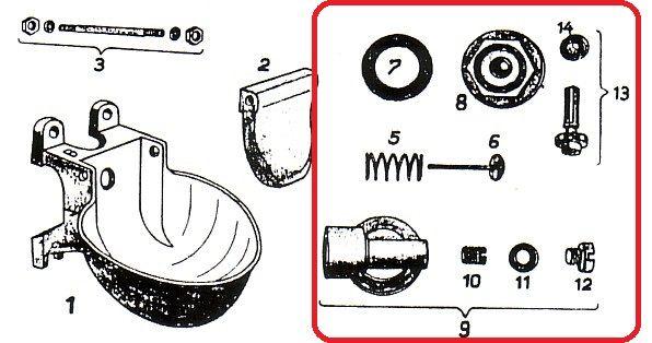 CAROLA Ventil komplett für Tränkebecken 58 - Ersatzteil Nr.4