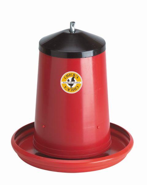 Geflügel-Futterautomat 6-8 Liter, Kunststoff, hängender Futterautomat mit Deckel, für Hühner
