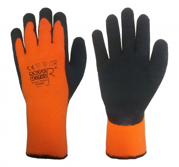 SuperWorker® Thermo-Handschuhe WINTER-WORKER orange, Gr. 10 (XL), Winter-Arbeitshandschuhe