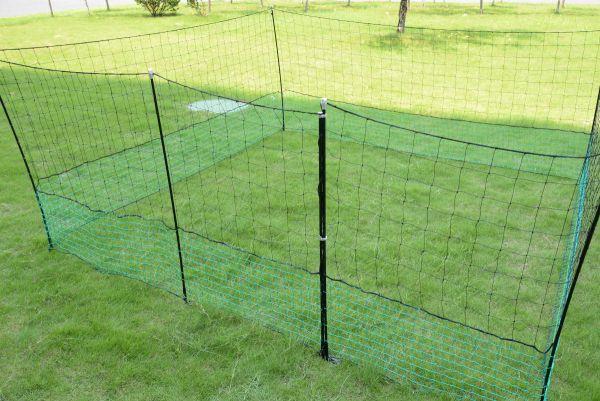 21m Geflügelzaun mit Zugangstor, 125cm, 10 Pfähle, 2 Spitzen, mobiler Hühnerzaun, Geflügelnetz