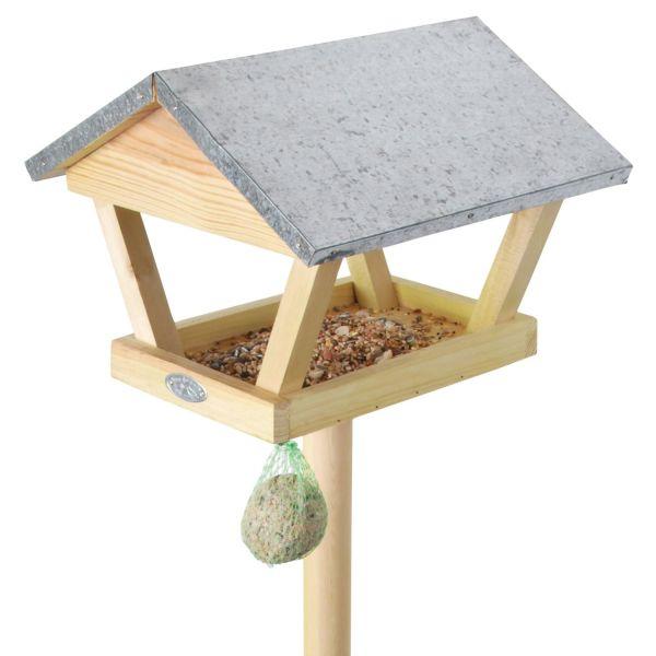 Esschert Design Vogelfutterhaus mit Stab und Blechdach, Futterhaus für Vögel, FB72