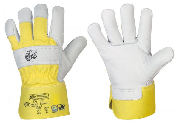 Stronghand® Winter-Arbeitshandschuhe EISBÄR Größe 8 (M), Rindvollleder-Handschuhe mit Stulpe