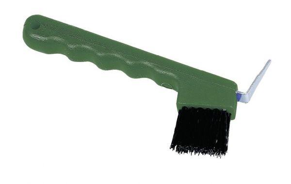 Hufkratzer mit Bürste, grün, Hufkratzbürste für Rinder und Pferde