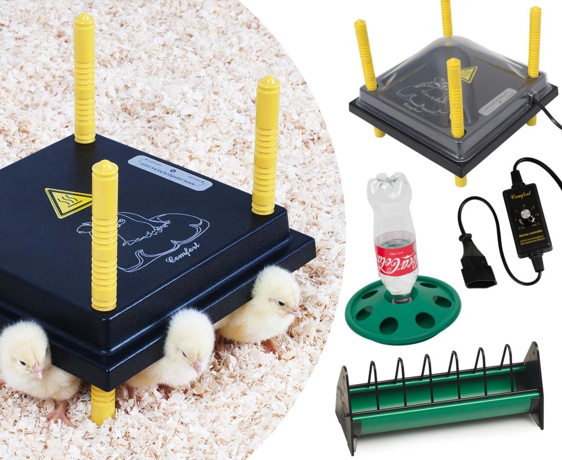 Küken-Aufzucht-Set: Wärmeplatte 25x25cm +Schutzhaube + ...