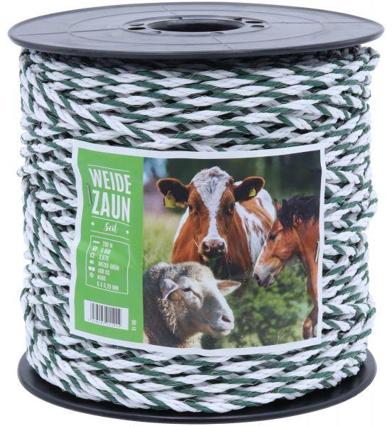 Weidezaun-Seil 200m, 6mm, 6 x 0,20 Niro-Leiter, weiß-grün, für mittlere bis lange Weidezäune