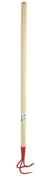 Kinder-Grubber 3 Zinken, mit Holzstiel 76cm, Gartengrubber für Kinder, farblich sortiert