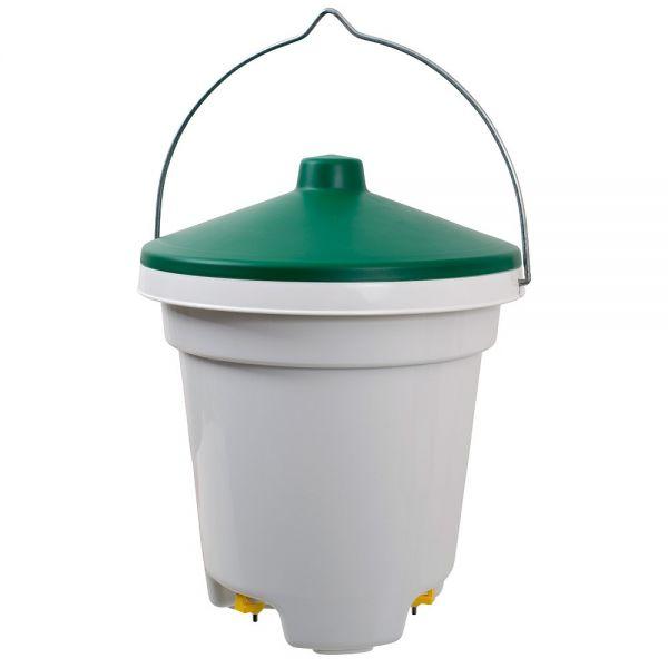 Geflügel-Tränkeeimer 12 Liter mit Tränkenippeln, Geflügeltränke mit Nippeln, Deckel und Aufhängung