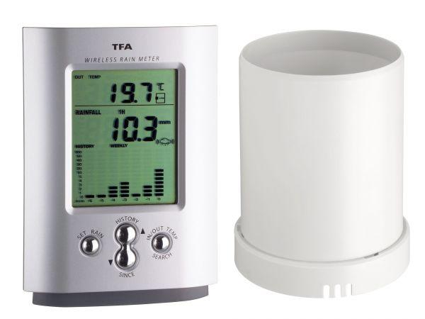 TFA Funk-Regenmesser MONSUN mit digitaler Temperatur- und Niederschlagsanzeige 47.3003
