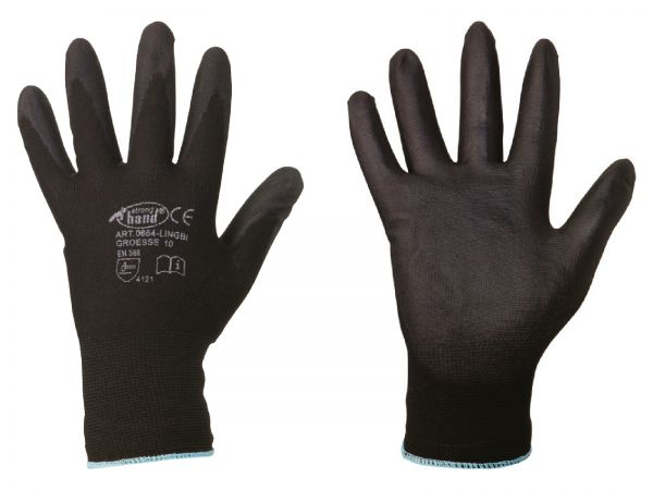 Feinstrick-Handschuhe Größe 9 (L), mit PU-Beschichtung