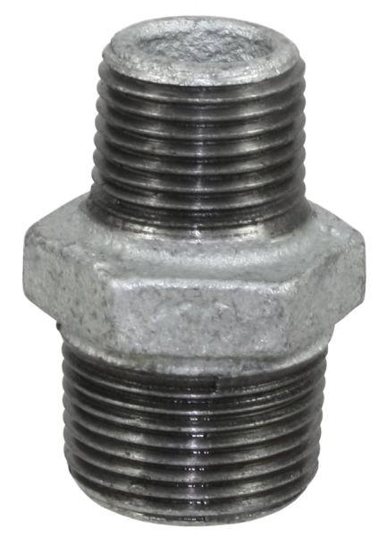 Temperguss Reduziernippel 1/1 x 1/2 Zoll, AG-AG, beidseitig mit Außengewinde, Nr. 245