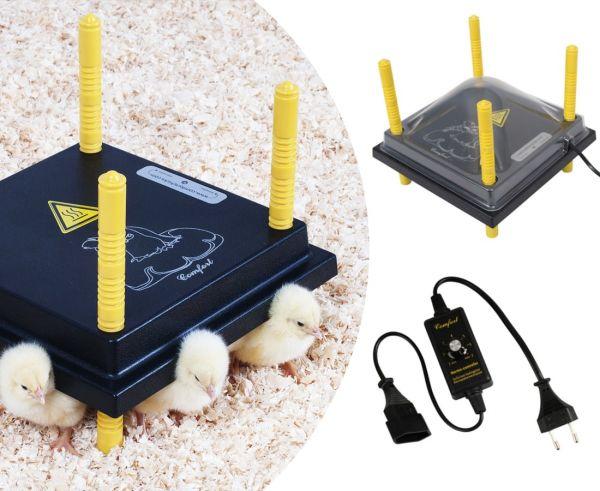 Küken-Wärmeplatten-Set: Wärmeplatte Comfort 25x25cm +Schutzhaube +Temperaturregler