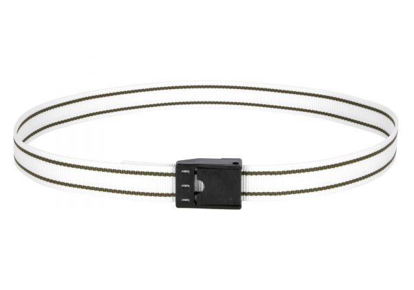 Halsmarkierungsband 130cm, weiß, mit Klemmverschluss, Nummern-Halsband für Rinder und Kühe