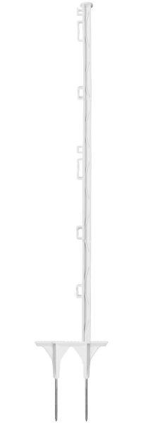 Kunststoffpfahl 105cm, 2 Spitzen, weiß, 7 Ösen, glasfaserverstärkter Weidezaunpfahl mit Doppelspitze