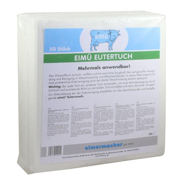 eimü® Eutertuch, 50 Stück, Vliesstofftuch zur Euterreinigung, koch- und reißfest, mehrmals anwendbar
