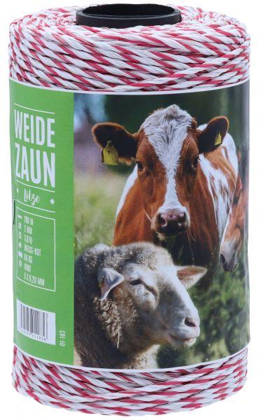 Weidezaunlitze GOLIATH 200m, 6 x 0,20 Niro-Leiter, weiß-rot, für mittlere Zaunanlagen