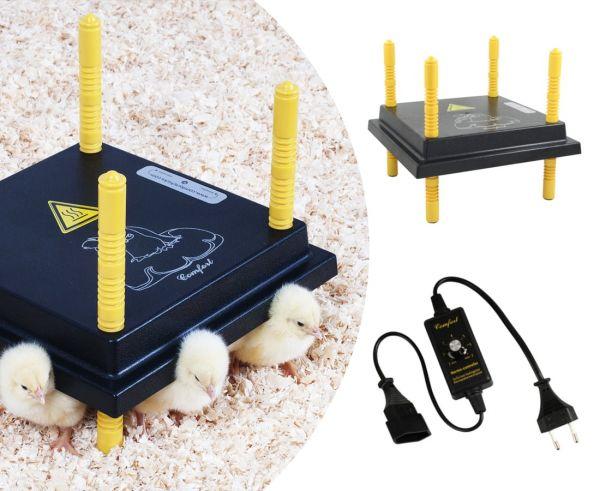 Küken-Wärmeplatten-Set: Wärmeplatte Comfort 25x25cm - 15 Watt + stufenloser Temperaturregler