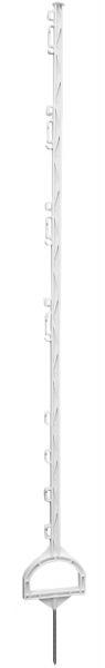 Steigbügelpfahl MUSTANG 155cm, weiß, 16 Ösen, glasfaserverstärkter Zaunpfahl mit Steigbügeltritt