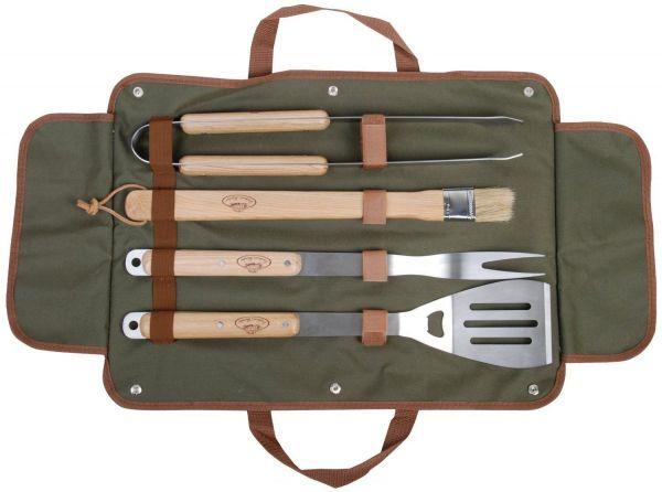 Esschert Design Grillbesteck GT37 aus Edelstahl und Eschenholz , 4-teiliges Besteckset mit Tasche