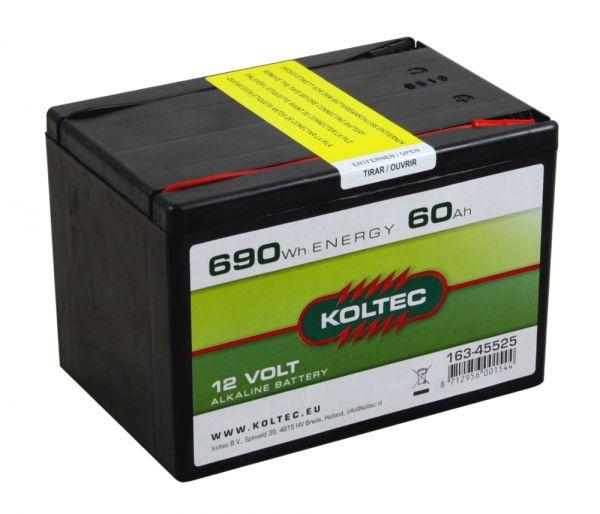 Koltec ALKALINE 60Ah - 12V, Weidezaunbatterie mit konstantem Spannungsverlauf