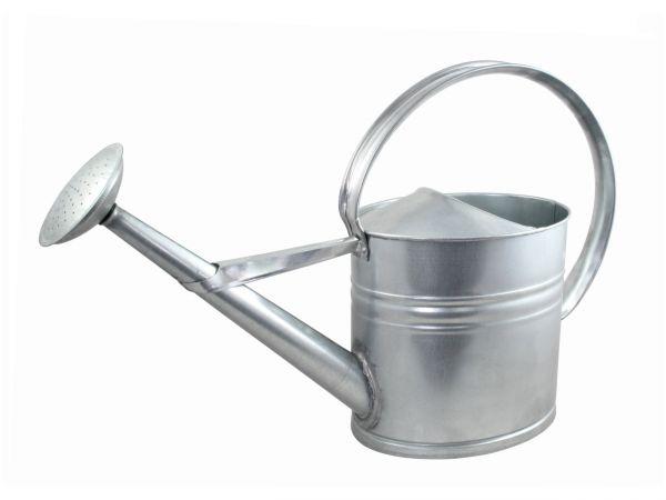 Zinkgießkanne 10 Liter, Gießkanne aus verzinktem Metall, Zink-Gießkanne