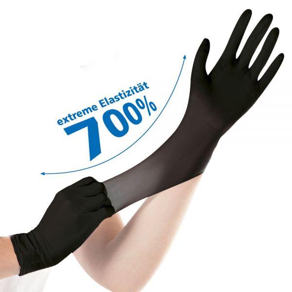 100x HYGOSTAR® Nitril-Einmalhandschuhe SAFE SUPER STRETCH, Schwarz, Größe 10 (XL)
