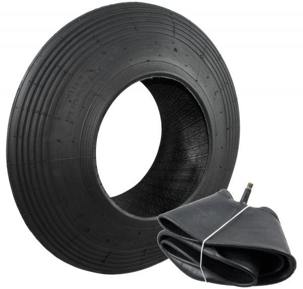 Schubkarren Reifen und Schlauch-Set (400x100) 4PR, Reifenset für Schubkarren, mit Autoventil TR13