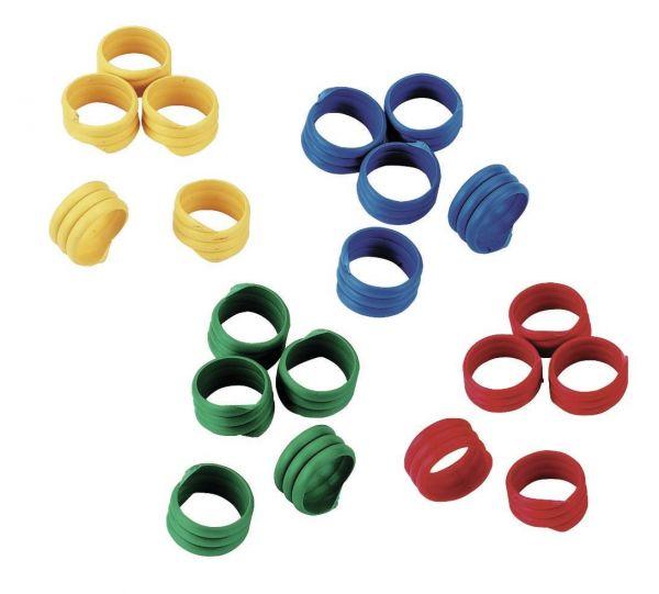 100x Spiralringe Ø 20mm, Fußringe, Markierungsringe für Gänse, bunt gemischt