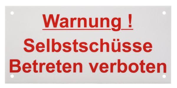 Warnschild: Warnung Selbstschüsse, weiß, 150x70mm, Hinweisschild für Wühlmausschussfallen