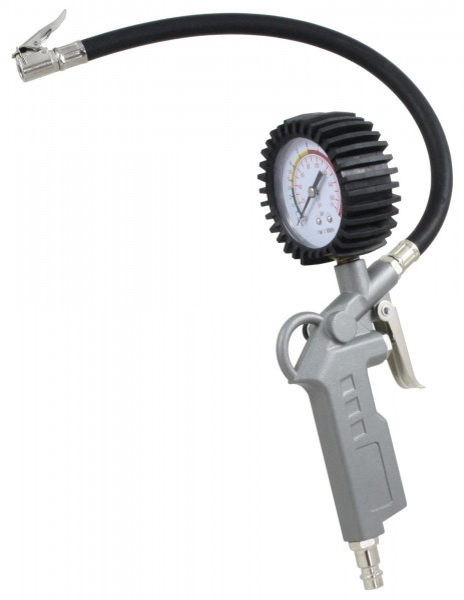 Reifenfüllmesser, mit Pistolengriff und Manometer, Reifenprüfer mit 35cm Schlauch und Ventilstecker