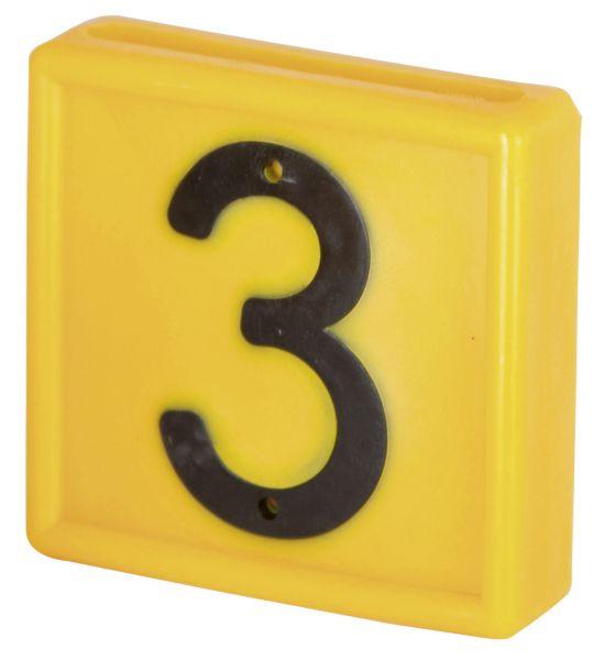 Nummernblock Standard, gelb, Block-Nummer: 3 (DREI)