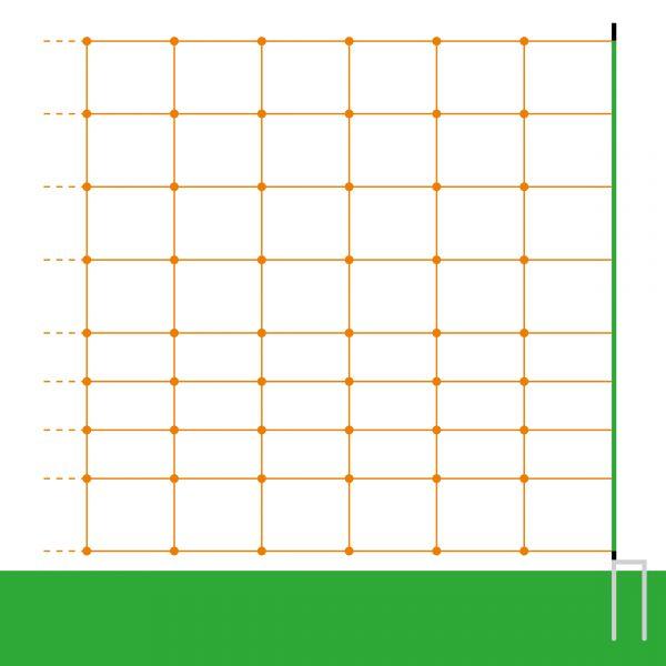50m Euro-Schafnetz PROFI, 106cm, 2 Spitzen, orange, Elektronetz zur Schafhaltung
