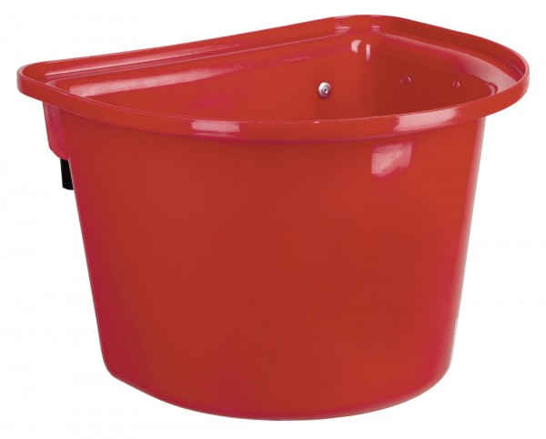 Futterkrippe 12 Liter, Rot, mit Aufhängehaken, Futtertrog für Transporter und Turniere