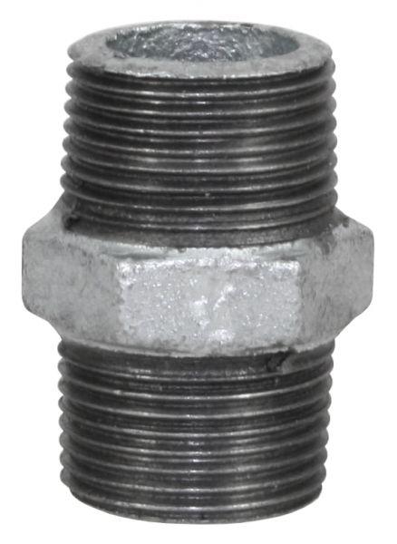 Temperguss Nippel, 1 Zoll, AG-AG, beidseitig mit Außengewinde, Nr. 280