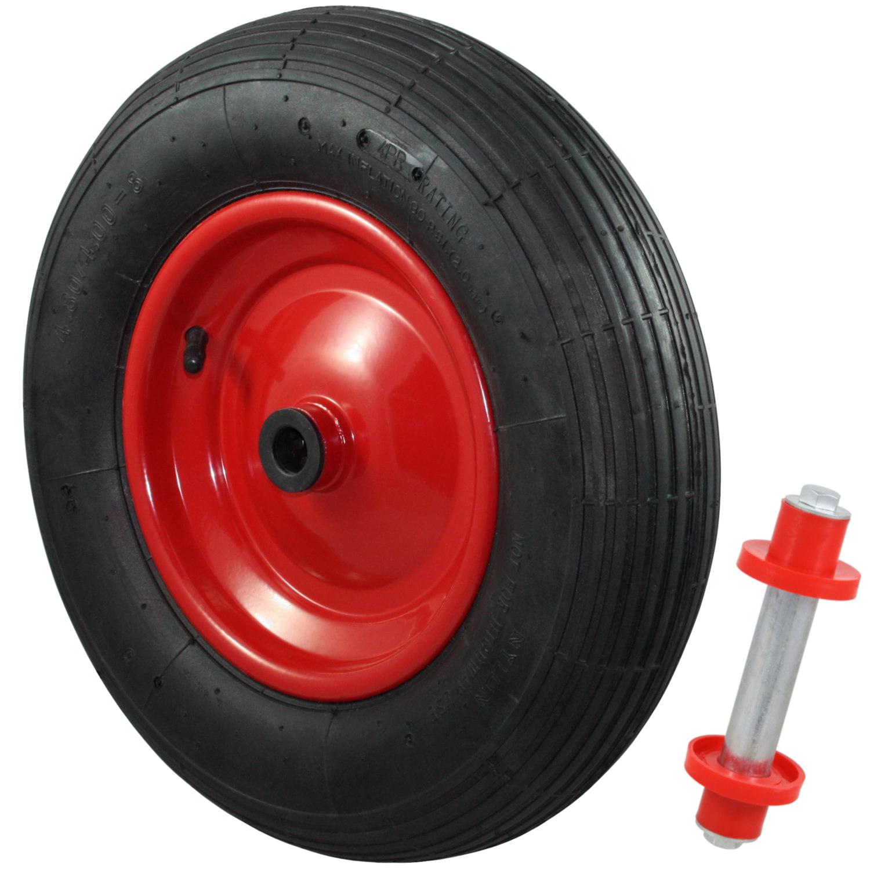 Schubkarrenrad 4.80//4.00-8 Luftbereift Achse 20mm Stahlfelge Ersatzrad Reifen