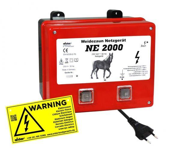 Eider Weidezaungerät NE 2000, 230 Volt Netzgerät für kurze Zaunanlagen und Paddocks