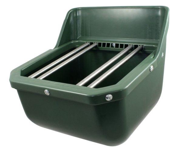 Fohlentrog, Kunststoff, 33x33x33cm, Futtertrog für Fohlen mit Ablaufstopfen und Metallstäben