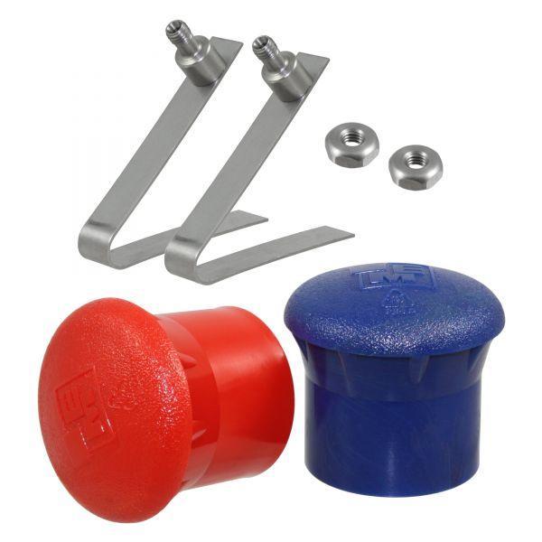 Ersatzteilset für QRS® Schlagfessel NIRO: 2x Feder + 2x Kappe (blau, rot), Reparaturset