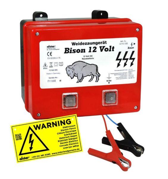 Eider Weidezaungerät BISON, 12 Volt Batteriegerät für mittlere Zaunanlagen mit leichtem Bewuchs