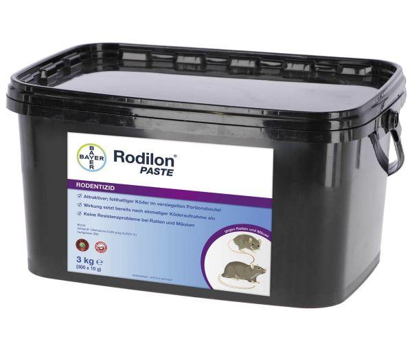 BAYER Rodilon® Paste, 3kg, anwendungsfertiger Köderpastenriegel, Mäuse- und Rattenköder