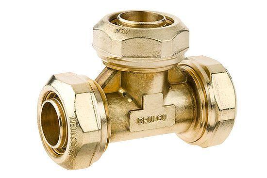 BEULCO Kupplung T-Stück 1/2 Zoll, 20x1,9mm, Verbindungskupplung mit 3 gleichen Rohranschlüssen