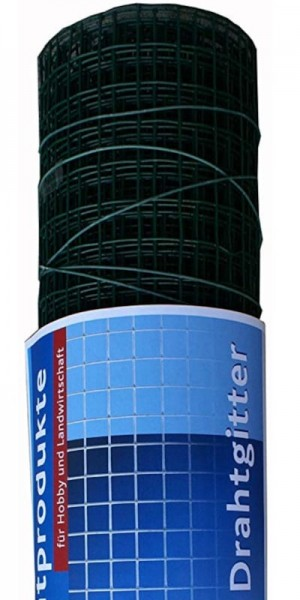 hadra® 25m Punktgeschweißtes Gitter 12,7 x 0,90 x 500 mm, verzinkt, grün, Volierendraht, Drahtgitter