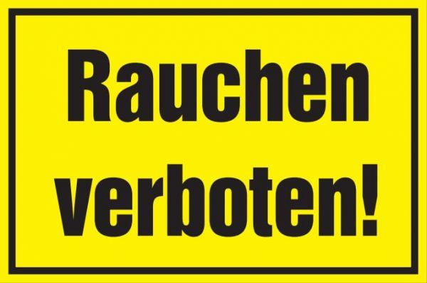 Verbotsschild: Rauchen verboten, gelb, 250x150mm, Hinweisschild