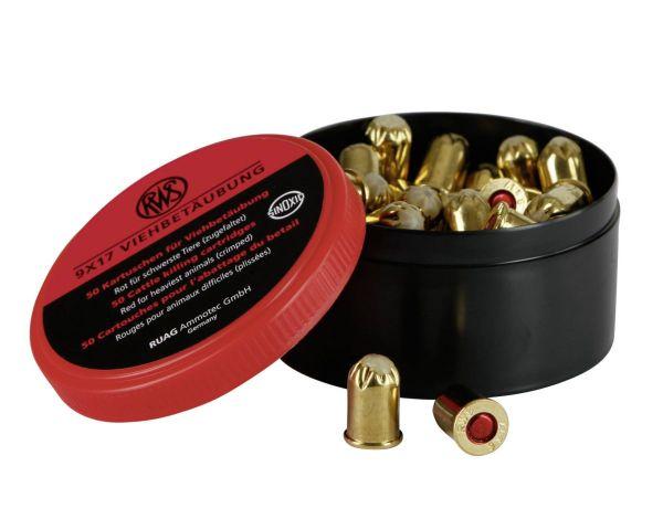 50x Kartuschen Kaliber 9x17 ROT, Patronen, Platzkartuschen für TopFox® Wühlmausschussfalle